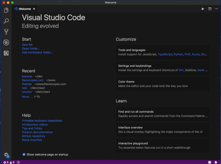 Welcome Screen - Visual Studio Code