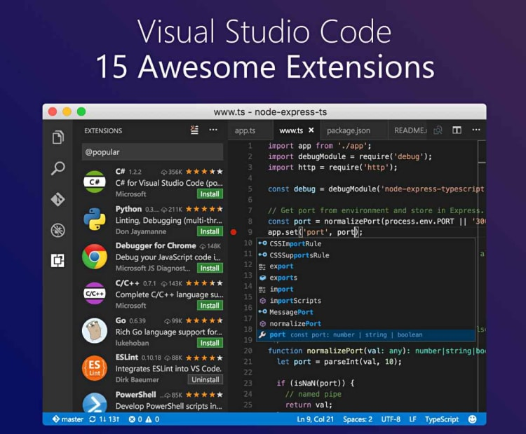 Visual Studio Code - 15 Awesome Extensions