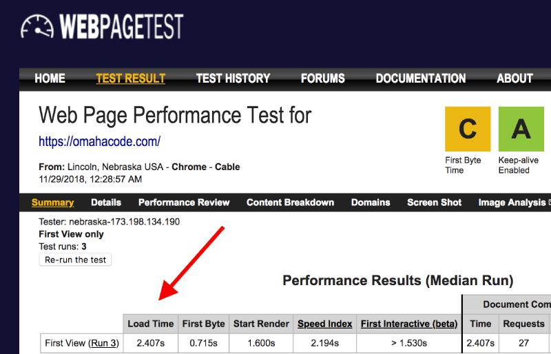 Omaha Code Web Page Test Score