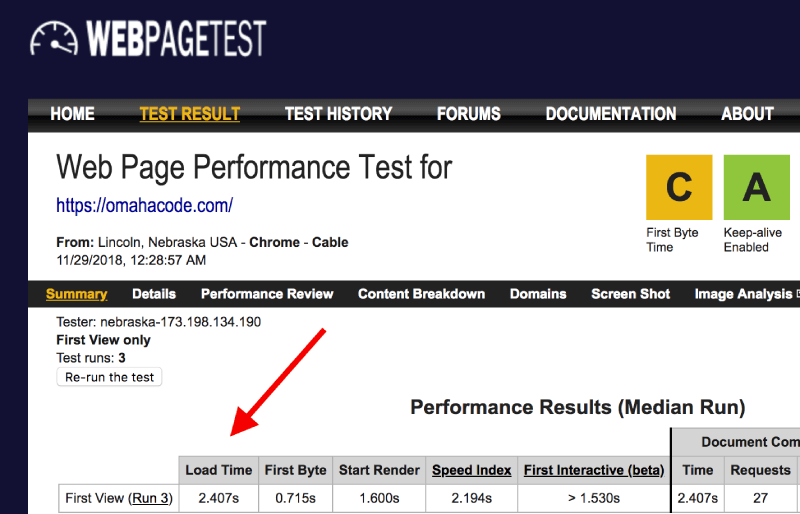 Omaha Code Web Page Test Score