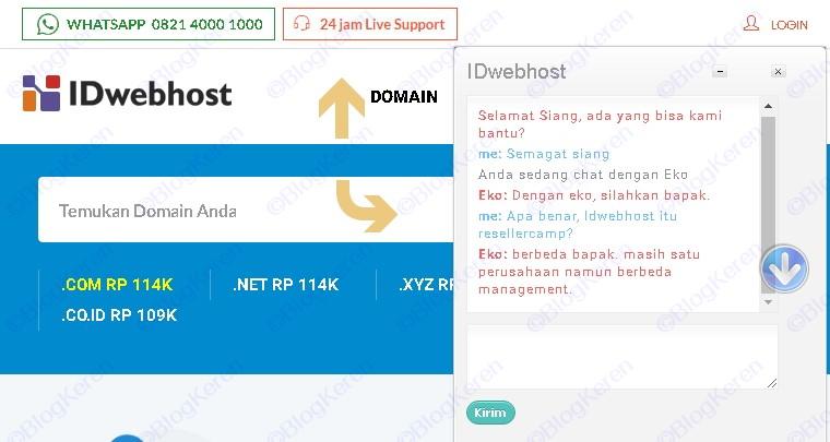 Support Layanan pelanggan Idwebhost