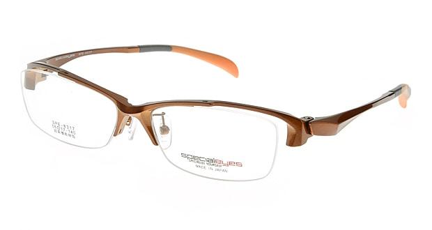 【送料無料】スペシャライズ SPE-8317-6-56 メガネ(眼鏡) スクエア specialeyes-SPE-8317-6 ブラウン 茶 セルフレーム ハーフリム Specialeyes 度付き 伊達メガネ 即日発送 ユニセックス