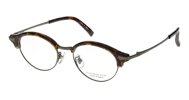 【送料無料】ハンドメイドアイテム H5003-4 メガネ(眼鏡) ボストン hand-made-item-H5003-4 べっ甲柄 セルフレーム フルリム HAND MADE ITEM 度付き 伊達メガネ 即日発送 ユニセックス