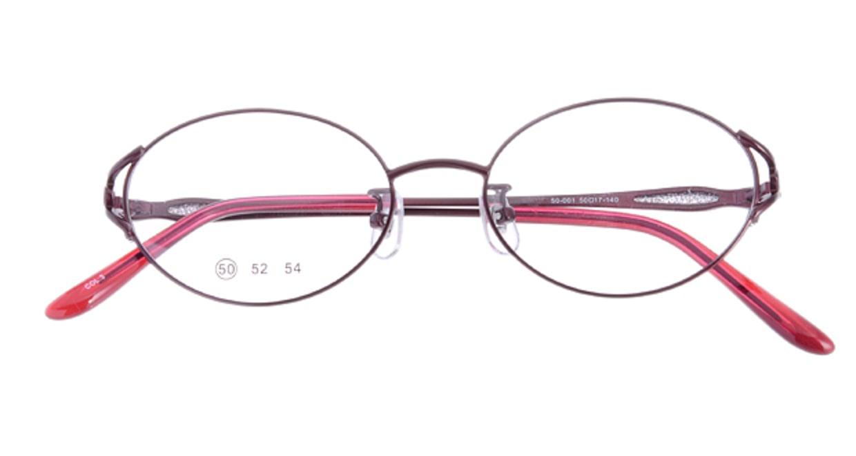 家メガネ 50-001-3-50 [メタル/オーバル/安い/赤]  3