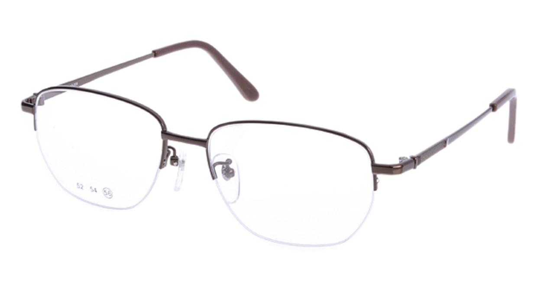 家メガネ 10-008-2-56 [メタル/ハーフリム/スクエア/安い/茶色]