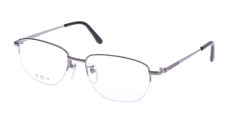 家メガネ 10-008-3-56 [メタル/ハーフリム/スクエア/安い/シルバー]