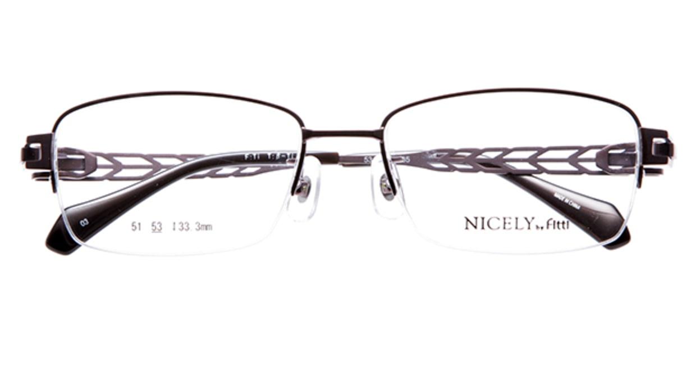 ナイスリー by フィッティ FT-134-3-53 [メタル/ハーフリム/スクエア/茶色]  3