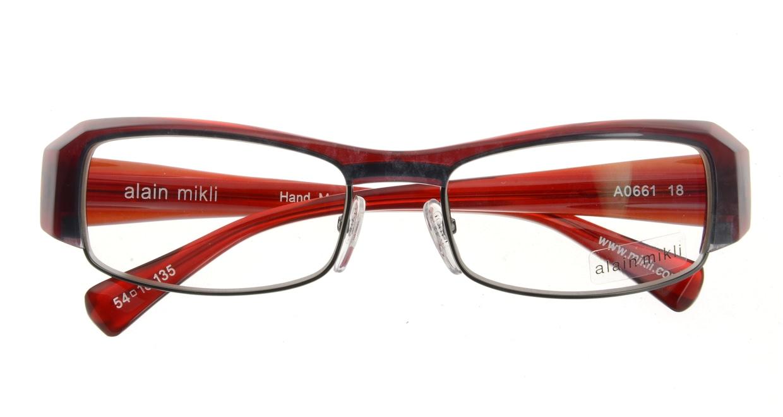 アランミクリ AL0661-18 フルリム 赤 フレーム  メガネのオーマイグラス_3