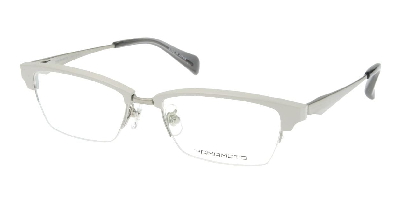 ハマモト HT-304-4 ハーフリム 白 フレーム  メガネのオーマイグラス_0