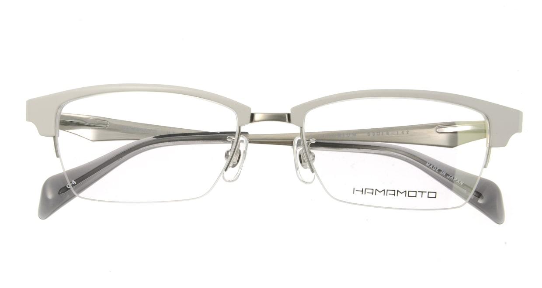 ハマモト HT-304-4 ハーフリム 白 フレーム  メガネのオーマイグラス_3