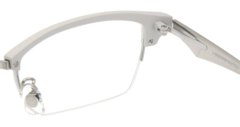 ハマモト HT-304-4 ハーフリム 白 フレーム  メガネのオーマイグラス_4