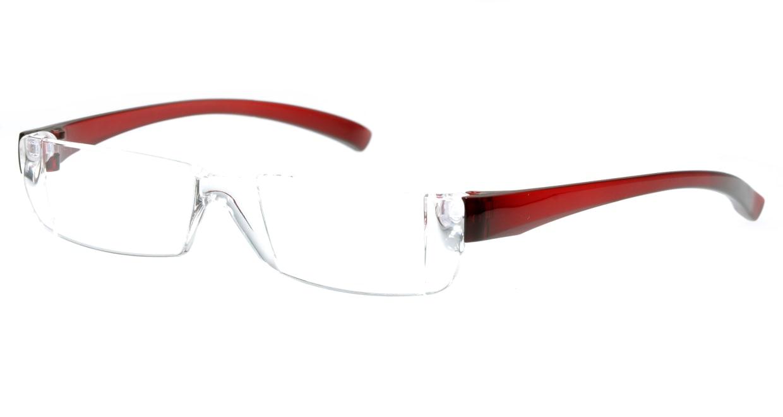 カルルック リーディンググラス +3.5 red [老眼鏡/鯖江産/スクエア/安い/透明]