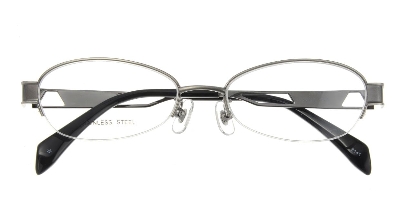 家メガネ 8141-W ハーフリム シルバー フレーム  メガネのオーマイグラス_3
