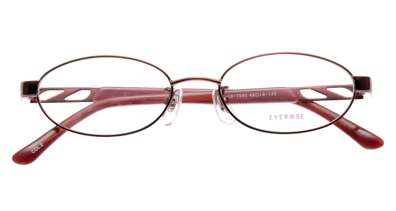 家メガネ EB-7580-2 フルリム 赤 フレーム  メガネのオーマイグラス_3