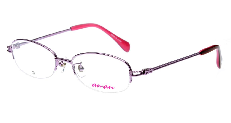 アンアン AA1127-2 ハーフリム 紫 フレーム  メガネのオーマイグラス_0