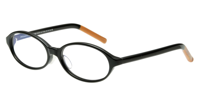 オウル boasorte Pocky-BS029-1.BLACK [黒縁/オーバル]