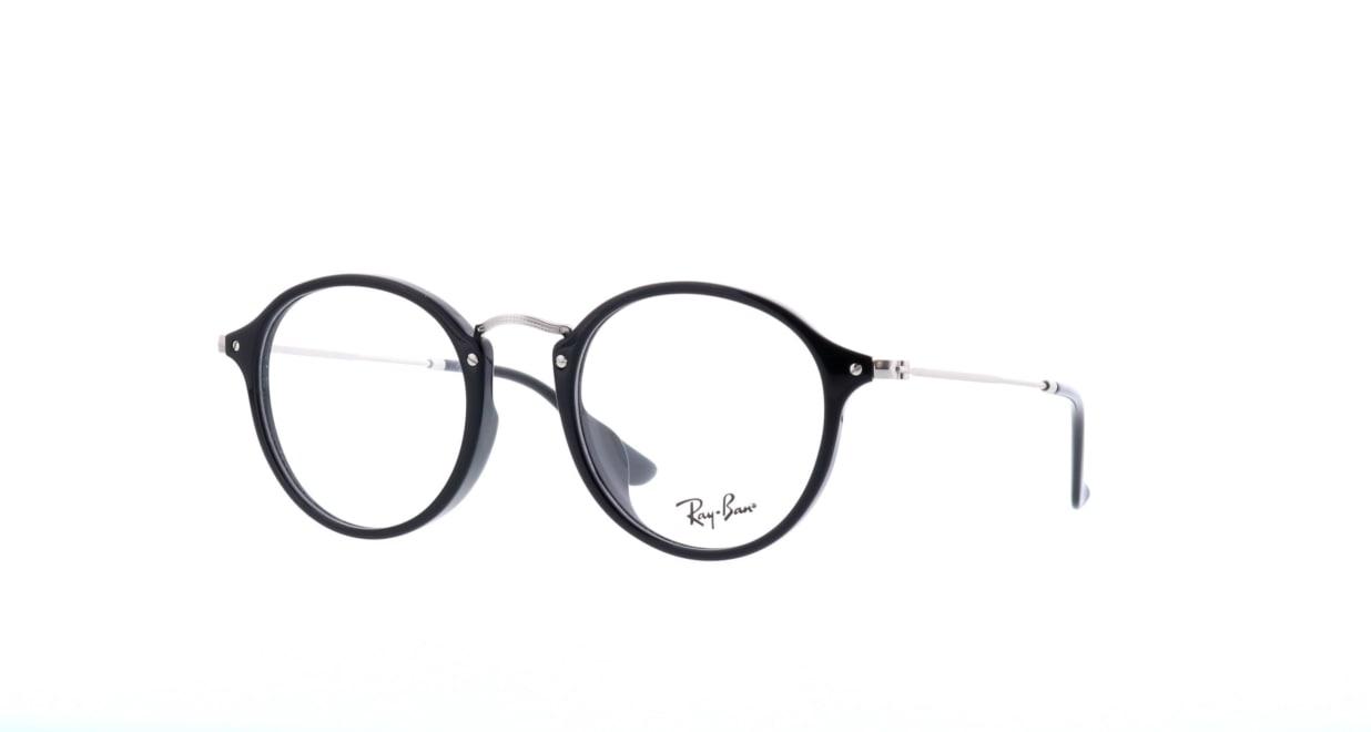 レイバン ROUND FLECK RX2447VF-2000-49 [黒縁/丸メガネ]  1