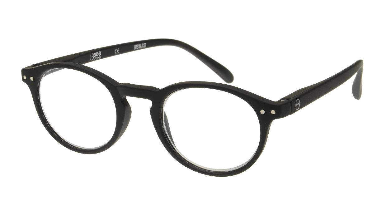 イジピジ リーディンググラス +2.0 #A-BLACK SOFT [老眼鏡/黒縁/丸メガネ]