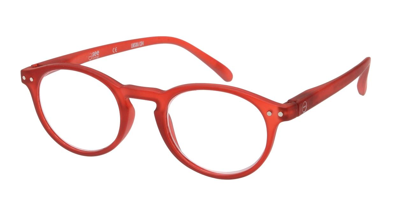 イジピジ リーディンググラス +1.5 #A-RED CRYSTAL SOFT [老眼鏡/丸メガネ/赤]