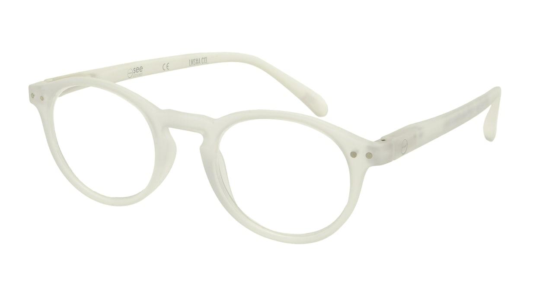 イジピジ リーディンググラス +1.5 #A-WHITE CRYSTAL SOFT [老眼鏡/丸メガネ/白]