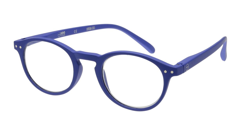 イジピジ リーディンググラス +1.5 #A-NAVY BLUE SOFT [老眼鏡/丸メガネ/青]