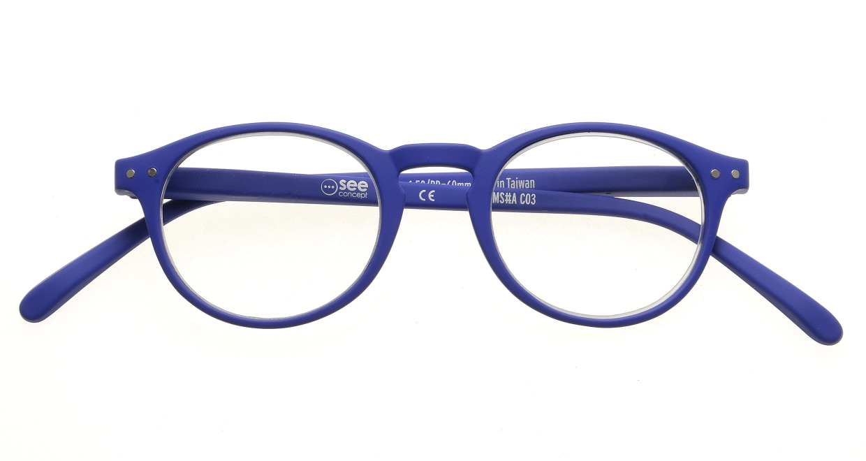 イジピジ リーディンググラス +2.0 #A-NAVY BLUE SOFT [老眼鏡/丸メガネ/青]  3
