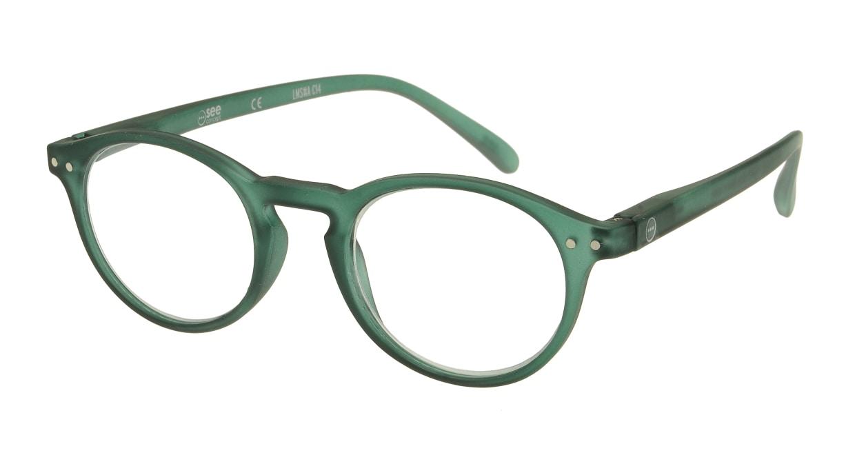 イジピジ リーディンググラス +1.5 #A-GREEN CRYSTAL SOFT [老眼鏡/丸メガネ/緑]
