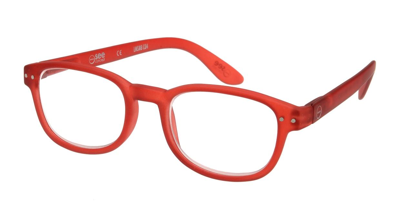 イジピジ リーディンググラス +1.5 #B-RED CRYSTAL SOFT [老眼鏡/ウェリントン/赤]