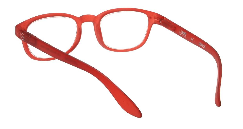 イジピジ リーディンググラス +1.5 #B-RED CRYSTAL SOFT [老眼鏡/ウェリントン/赤]  2
