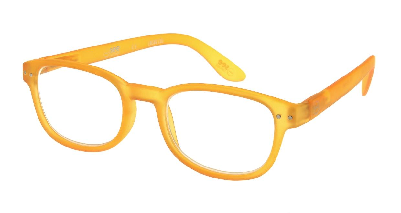 イジピジ リーディンググラス +1.5 #B-YELLOW CRYSTAL SOFT [老眼鏡/ウェリントン/オレンジ]