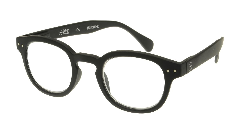 イジピジ リーディンググラス +2.0 #C-BLACK SOFT [老眼鏡/黒縁/丸メガネ]
