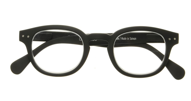 イジピジ リーディンググラス +2.0 #C-BLACK SOFT [老眼鏡/黒縁/丸メガネ]  3