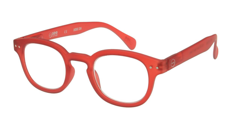 イジピジ リーディンググラス +1.5 #C-RED CRYSTAL SOFT [老眼鏡/丸メガネ/赤]