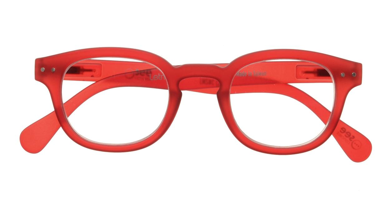 イジピジ リーディンググラス +1.5 #C-RED CRYSTAL SOFT [老眼鏡/丸メガネ/赤]  3