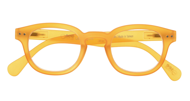 イジピジ リーディンググラス +1.5 #C-YELLOW CRYSTAL SOFT [老眼鏡/丸メガネ/オレンジ]  3