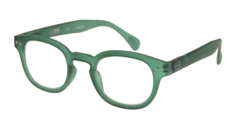イジピジ リーディンググラス +1.5 #C-GREEN CRYSTAL SOFT [老眼鏡/丸メガネ/緑]
