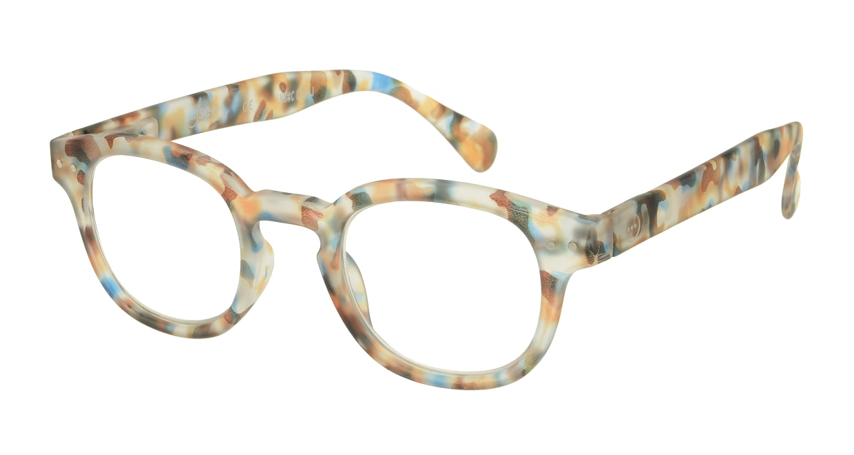 イジピジ リーディンググラス +1.5 #C-BLUE TORTOISE SOFT [老眼鏡/丸メガネ/派手]