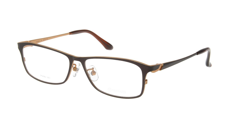アミパリ TP-8502L-14-56 [メタル/鯖江産/スクエア/茶色]