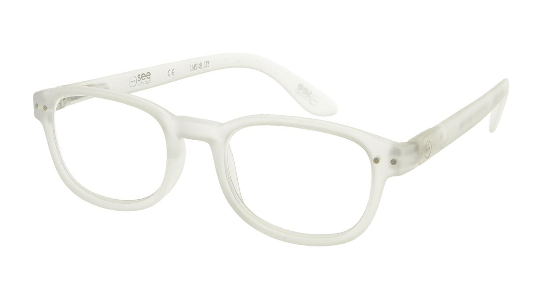 イジピジ リーディンググラス +2.5 #B-WHITE CRYSTAL SOFT [老眼鏡/スクエア/白]