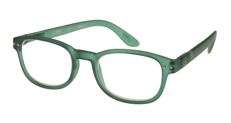 イジピジ リーディンググラス +2.5 #B-GREEN CRYSTAL SOFT [老眼鏡/スクエア/緑]
