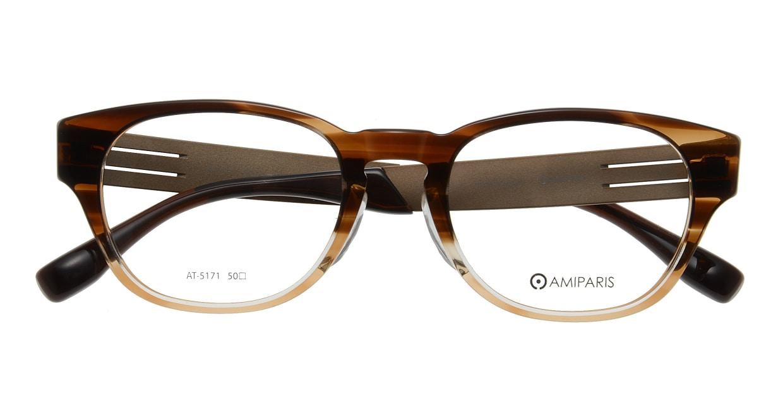 アミパリ AT-5171-44-50 [鯖江産/ウェリントン/茶色]  3