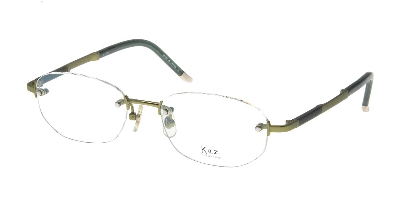 カズ・チタニウム K-016-3 [メタル/鯖江産/縁なし/オーバル/緑]