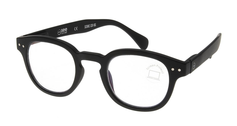 イジピジ PC用メガネ +0.0(度なし) #C-BLACK [ブルーライトカット/黒縁/ウェリントン]