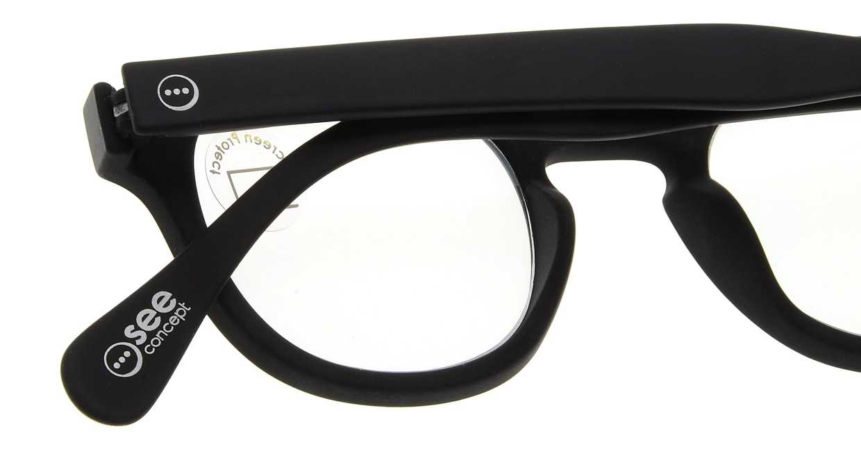 イジピジ PC用メガネ +0.0(度なし) #C-BLACK [ブルーライトカット/黒縁/ウェリントン]  4
