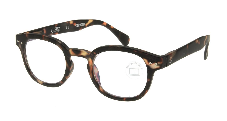 イジピジ PC用メガネ +0.0(度なし) #C-TORTOISE [ブルーライトカット/ウェリントン/べっ甲柄]