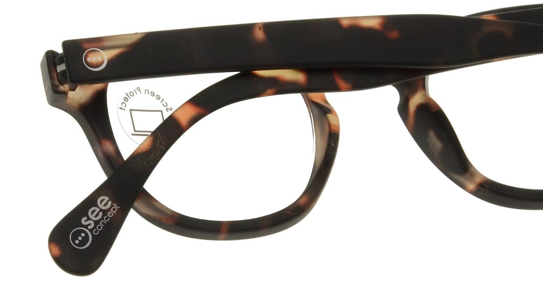 イジピジ PC用メガネ +0.0(度なし) #C-TORTOISE [ブルーライトカット/ウェリントン/べっ甲柄]  4