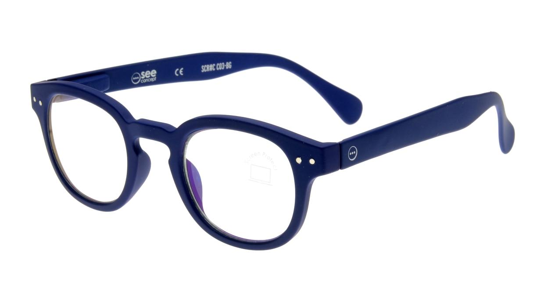 イジピジ PC用メガネ +0.0(度なし) #C-NAVY BLUE [ブルーライトカット/ウェリントン/青]