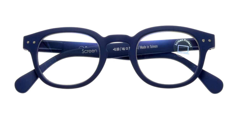 イジピジ PC用メガネ +0.0(度なし) #C-NAVY BLUE [ブルーライトカット/ウェリントン/青]  3
