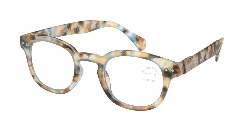 イジピジ PC用メガネ +0.0(度なし) #C-BLUE TORTOISE [ブルーライトカット/ウェリントン/派手]
