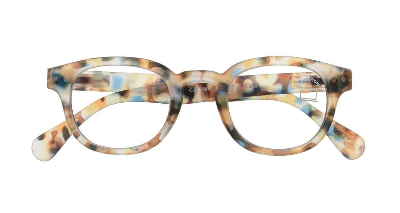 イジピジ PC用メガネ +0.0(度なし) #C-BLUE TORTOISE [ブルーライトカット/ウェリントン/派手]  3